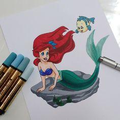 Ariel (A Pequena Sereia), desenho colorido 100% com markers.