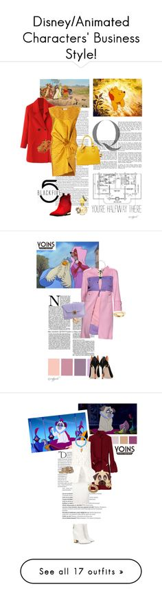"""Disney/Animated Characters' Business Style!"" by createjewels ❤ liked on Polyvore featuring Lanvin, Delfina Delettrez, Marc Jacobs, BlackFive, Disney, Valentino, RED Valentino, yoins, Balmain and Roberto Cavalli"