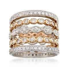Set of Five 1.45 ct. t.w. CZ Eternity Bands in 14kt Two-Tone Gold Over Sterling.. ross-simons.com; rose and white gold over SS
