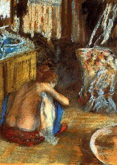 Woman Squatting / Edgar Degas - circa 1879