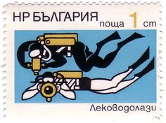 Two stamp-set from Bulgaria featuring some super-stylized illustrations of scenes of underwater exploration.