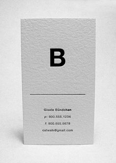 like the orientation and simplicity of this letter press business card