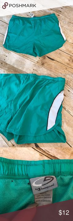 """🌻 Champion running shorts Size Large workout wear Excellent condition - size large - running/ workout wear - turquoise color - CHAMPION BRAND - size LARGE -‼️🌟NEXT DAY SHIPPING🌟‼️ measurements laid flat- Waist 16"""" Front Length 13"""" Back Length 14"""" Champion Shorts"""