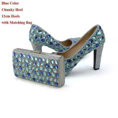 Blue Crystal Wedding Party High Heels with Clutch Chunky Heel Rhinestone Prom Pumps Cinderella Prom Shoes with Matching Bag , https://myalphastore.com/products/blue-crystal-wedding-party-high-heels-with-clutch-chunky-heel-rhinestone-prom-pumps-cinderella-prom-shoes-with-matching-bag/, #promheelscinderella #shoeshighheelswedding