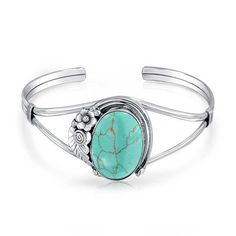 Bling Jewelry Sterling Silver Southwest Style Simulated Turquoise Cuff Bracelet
