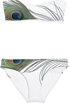 JETS by Jessika Allen|Regal Peacock printed bandeau bikini|NET-A-PORTER.COM