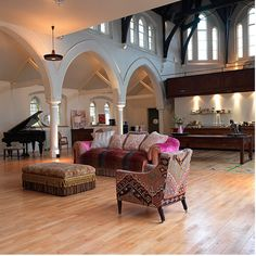 Church transformed into a house... Definitely drooling over the space and windows... Mmmmm maybe the grand too!!