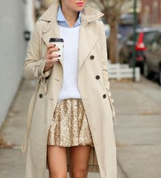 fashion risks to try in 2015 - sequins during the day. // Classic trench coat, gold sequin mini skirt, + white sweater layered over a chambray shirt.