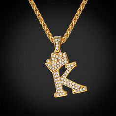 Iced Out Initial K Necklace Diamond Crown Wheat Chain Jewelry – Jewelry Cute Jewelry, Charm Jewelry, Jewelry Gifts, Women Jewelry, Alphabet Necklace, Letter Necklace, Initial Necklaces, K Necklace, Stylish Alphabets