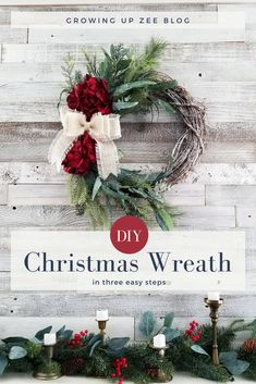 Easy DIY Christmas Wreath and easy mantle decor @michaelsstores #DIY #Crafty #Christmas via @growingupzee