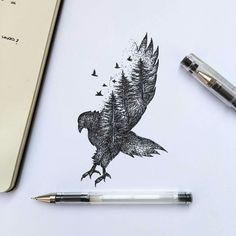 Hand Drawn Animal Illustrations by Alfred Basha Italian artist Alfred Basha combines animals and natural elements such as trees, branches and leaves to create his beautiful drawings. More illustrations via Ideia Quente Foot Tattoos, Ankle Tattoos, Small Tattoos, Sleeve Tattoos, Cat Tattoo, Tattoo Drawings, Tattoo Bird, Tattoo Eagle, Tattoo Animal