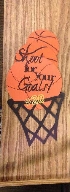 Locker decoration for basketball season for basketball buddies---how cute!