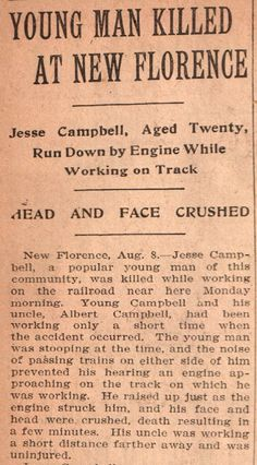 Vintage Johnstown: Head and Face Crushed