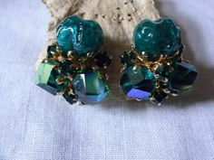 Vintage Crystal Nugget Earrings by Vogue   SelectionsBySusan - Jewelry on ArtFire