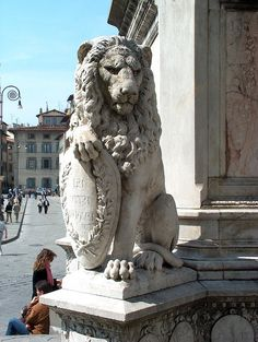 Firenze Lion at the Statue of Dante Piazza Santa Croce Tuscany