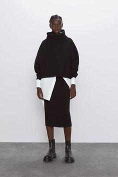 Knit Pencil Skirt, Knit Skirt, Midi Skirt, Jersey Jacquard, Jersey Oversize, Look Casual, Models, Zara Women, High Collar