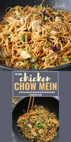 This Chicken Chow Mein recipe comes together in 20 minutes in just one pan. It's the perfect easy meal for busy weeknights! This authentic Chinese restaurant quality recipe is made with tender chicken, colorful vegetables and the most amazing sauce so you Healthy Chinese Recipes, Asian Noodle Recipes, Authentic Chinese Recipes, Healthy Recipes, Chinese Chicken Recipes, Chinese Desserts, Homemade Chinese Food, Rice Noodle Recipes, Chinese Meals