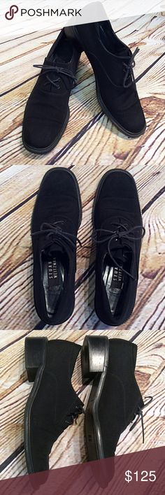 Stuart Weitzman Waterproof Gore Tex Black Oxford These are fabulous for fall and winter. They are made of a Gore Tex fabric to repel water. Very sleek and stylish. Gently used Stuart Weitzman Shoes Flats & Loafers