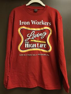 Red Living the High Life Long Sleeve Shirt MED - $15 Local Union, Long Sleeve Shirts, Store, Sweatshirts, Sweaters, Red, Life, Fashion, Moda
