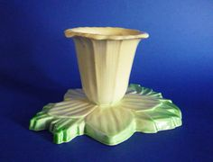 A stunning and rare art deco period posy vase in the form of a daffodil Shaded green the leaves form the base and the flower emerges as a yellow Carlton Ware, Art Deco Period, Art Deco Design, Daffodils, Archaeology, Tea Pots, Pottery, Vase, Colours