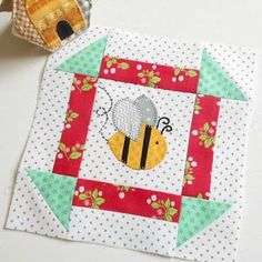 """This bee is very happy!If you are using the quick fuse (fusible webbing) method for the Bee Happy sew-along here is a fast way to make the five bees. From yellow/orange fabric cut:Two 1½"""" x 12"""""""