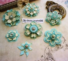Basic Grey Hello Luscious Mint Green Paper Embellishments and Paper Flowers for Scrapbook Layouts Cards Mini Albums Tags and Papercrafts