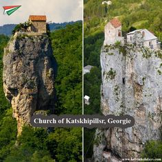 """#KatskhiPillar (locals call it """"Pillar of Life"""") is a giant natural limestone Pillar which extends from the ground up and reaches as high as 40 meters! it is situated right next to the village of Katskhi (west part of Georgia). On the top surface there is a #Church and there used to be a hermitage."""