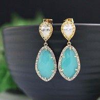 sea foam mint opal glass bridal earrings from www.earringsnation.com