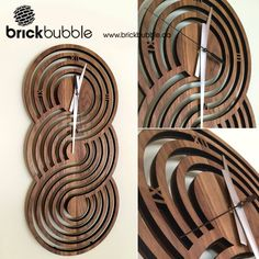 Brickbubble | Figure-8 Clock - design and created from walnut in our home studio. #lasercur #laserartist #clockdesign