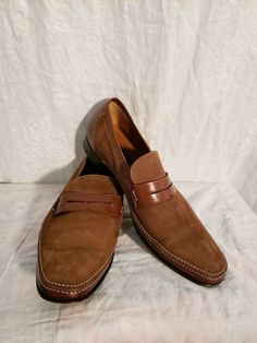 38db1b3cb69 Mezlan Suede Leather Ruskin Penny Loafers Slip On Oxford Men s Sz Brown