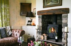 Luxury Holiday Cottages in Yorkshire & Lancashire, Wigglesworth House and Cottages Best Wood Burning Stove, English Cottage Style, Cozy Fireplace, Tiled Fireplace, Country Fireplace, Wood Burner, Living Spaces, Living Rooms, New Homes