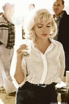 """White basic shirt that Marilyn had in """"The Misfits"""" in 1961. This is simple shirt, that you can wear at any time of year, day. You can match it with pants or simple skirt."""