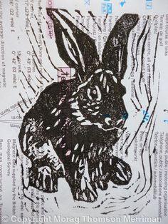 Rabbit - linocut - Morag Thomson Merriman, Scotland U.K.