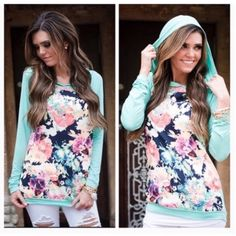 "• Mint Floral Hoodie • Stand out in this mint and floral hoodie! 100% polyester. Model is 5'7, wearing small. True to size fit. Measurement from underarm to bottom of hem. Bust-  Small=34"" Medium=35"" Large=36"".  Sleeve length of all sizes=20""  PLEASE DO NOT purchase this listing. Comment what size you want below and I'll make you a separate listing.   No Trades. Price Firm Tops Sweatshirts & Hoodies"