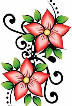 Easy Flower Drawings, Colorful Drawings, Easy Drawings, Art Floral, Paint Designs, Textile Prints, Fabric Painting, Flower Designs, Painted Rocks