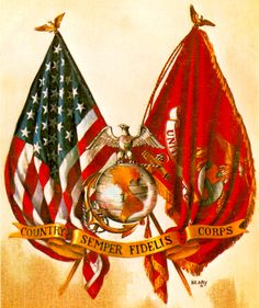 Our American And Marine Corps Flags With Our Emblem Semper Fidelis Always Faithful