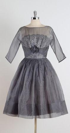 Gunmetal Luxe . vintage 1950s dress . gray by millstreetvintage