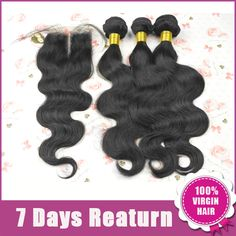 5A,1piece Lace Closure With 3 pcs Hair Bundle.  4 pcs /lot,Brazilian Body WaveVirgin Hair Extension,Free Shipping