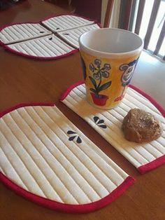 Quilt, Knit, Run, Sew: Apple Mug Rug and Coasters