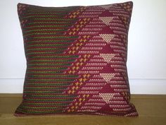 Red Wine Green Chevron African Print Pillow / Cushion 18 x 18 inches by AnkaraLampshades