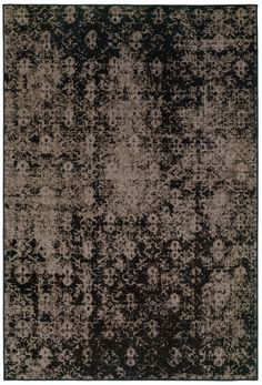 Black and Gray Worn Overdyed Style Rug - Woodwaves