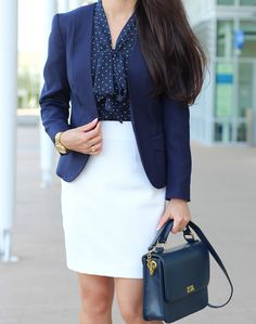 Navy blazer, navy and white polka dot top  White skirt, navy purse, gold watch //  Click the following link to see all photos and outfit details:  http://www.stylishpetite.com/2014/06/navy-white-and-gold.html