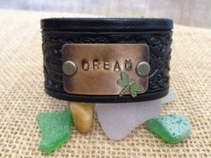 www.etsy.com/shop/journeyondesigns Leather cuff bracelet, handmade from recycled belts, hand-tooled,  metal, hand-stamped dream embellishment, black leather