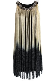 Swinging Ombre Tassel Dress in Gold