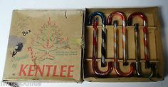 6 Old Mercury Glass Candy Cane Ornaments by KENTLEE in Original Box
