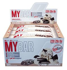 Pro Supps MYBAR Delicious Oven Baked Protein Bar (Ice Cream Cookie Crunch), 20g Protein, Only 6g Sugar, Gluten-free, No Trans Fat, Healthy on-the-go Snack. 6 Count, Net WT 1.94 ounces >>> Want additional info? Click on the image. (This is an affiliate link) #healthysnackprotienpack