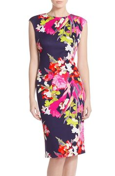 Pretty spring print! Vince Camuto Floral Scuba Sheath Dress (Regular & Petite) available at #Nordstrom