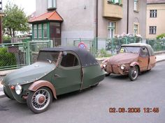 The things one forgets. A sort of Robin Reliant in reverse. Vintage Photos, Vintage Cars, Czech Republic, Old Cars, Dream Cars, Transportation, Classic Cars, Automobile, Retro
