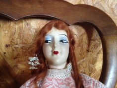 Composition Doll with red mohair and cloth by Prairiegirltreasure, $100.00