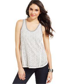 DKNY Jeans Sleeveless Layered-Lace Tank Top - Tops - Women - Macy's
